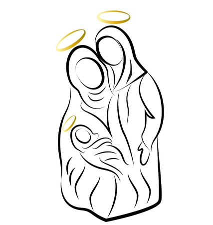 mary and jesus: Nativity scene silhouette vector Illustration