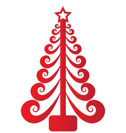 tree logo: Christmas tree red swirly vector