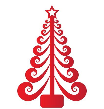 arbol p�jaros: Navidad �rbol rojo swirly vector