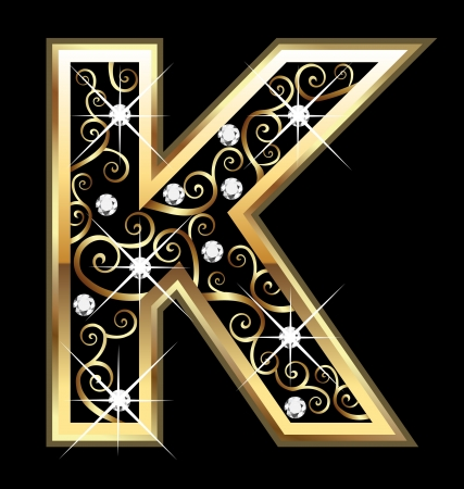 Lettre K d'or avec des ornements swirly