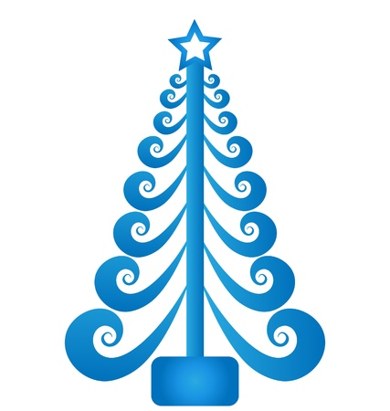 christmas greeting: Christmas tree blue swirly vector