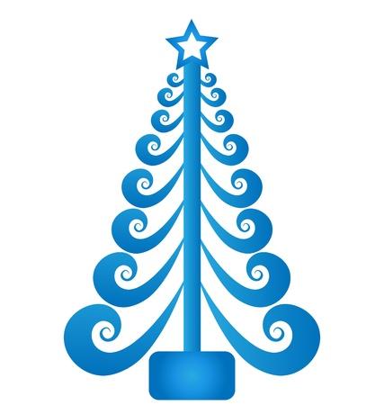Christmas tree blue swirly vector
