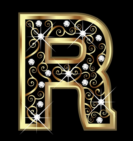 18k: R gold letter with swirly ornaments
