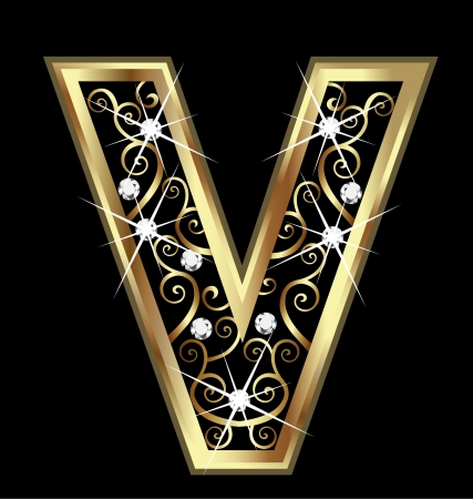V gold letter with swirly ornaments Vectores