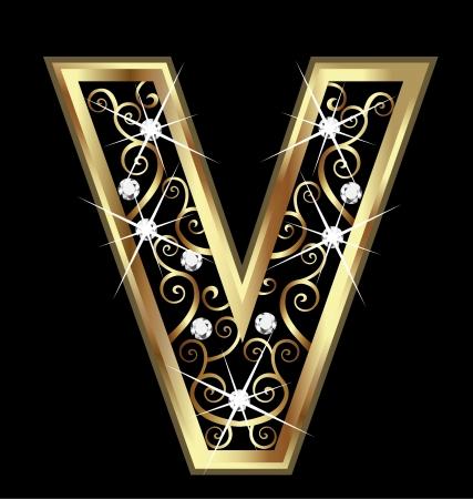 V gouden brief met swirly ornamenten Vector Illustratie