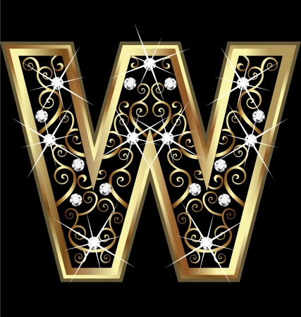 W gold letter with swirly ornaments Vettoriali