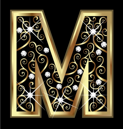 18k: M gold letter with swirly ornaments