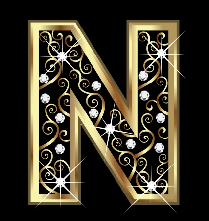 18k: N gold letter with swirly ornaments