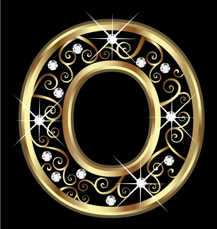 O gold letter with swirly ornaments