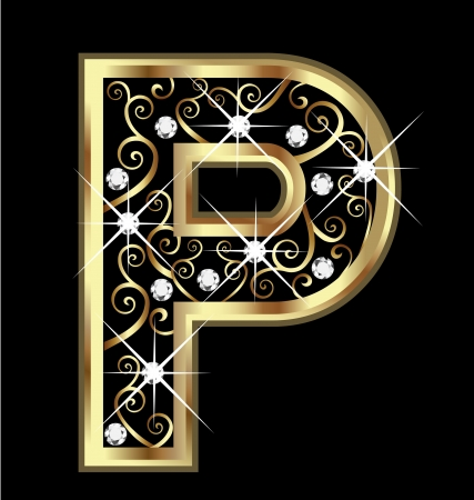 P gold letter with swirly ornaments