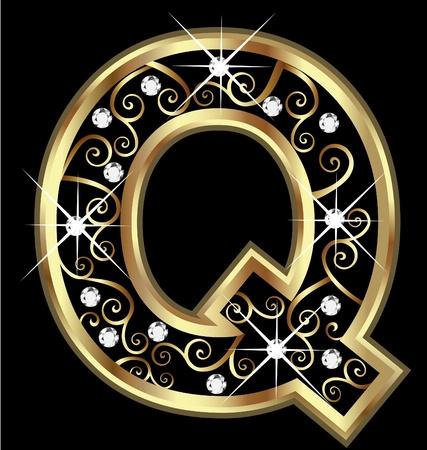 q: Q lettera d'oro con ornamenti swirly Vettoriali