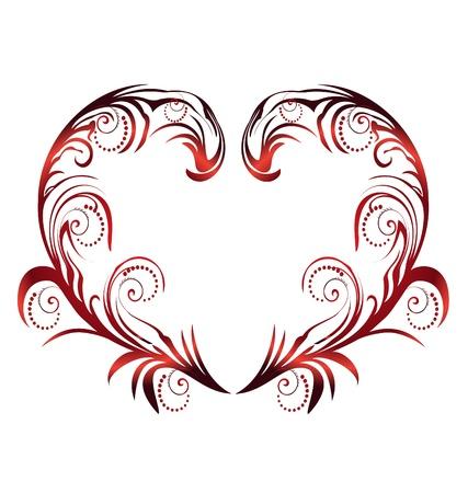 Hart met swirly bladeren vector