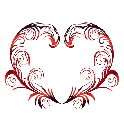 Heart with swirly leaves vector Çizim