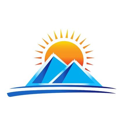 sol: Montanhas do logotipo do vetor Ilustração