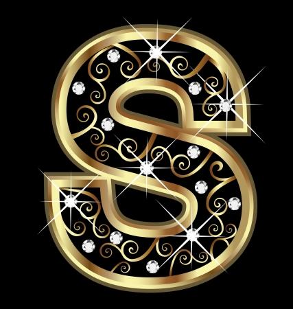 alphabet: S gold Brief mit swirly Ornamente