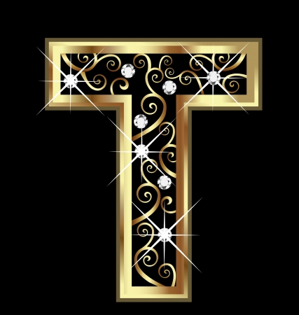 T gold letter with swirly ornaments