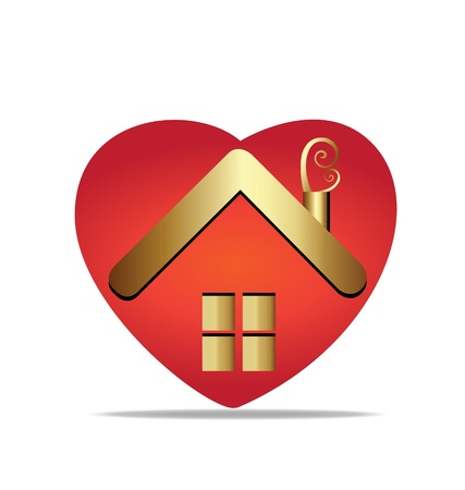Gold house and heart logo vector