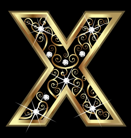 X gold letter with swirly ornaments  Vettoriali