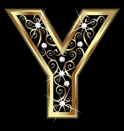 �gold: Letra Y oro con adornos swirly Vectores