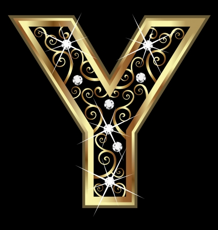 Y gold letter with swirly ornaments Stock Vector - 16418654