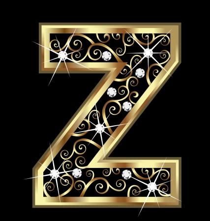 letras doradas: Z carta de oro con adornos swirly Vectores
