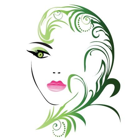 Girl face à la feuille swirly Vecteurs