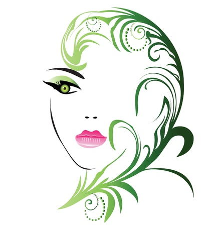 Girl face with swirly leaf  Illustration