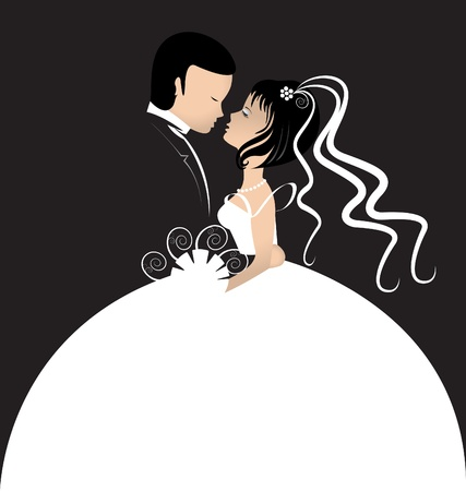 married together: Bride and groom invitation card  Illustration