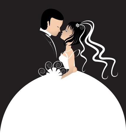 recien casados: La novia y el novio tarjeta de invitaci�n Vectores