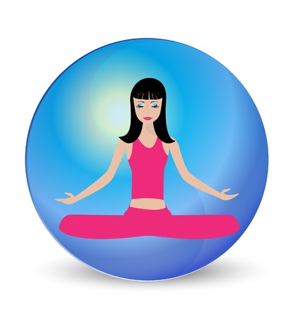 Yoga girl meditation logo  Vector