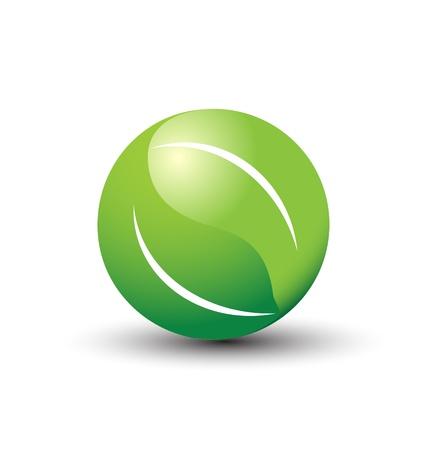 saludable logo: Mundial de la insignia de las hojas Vectores