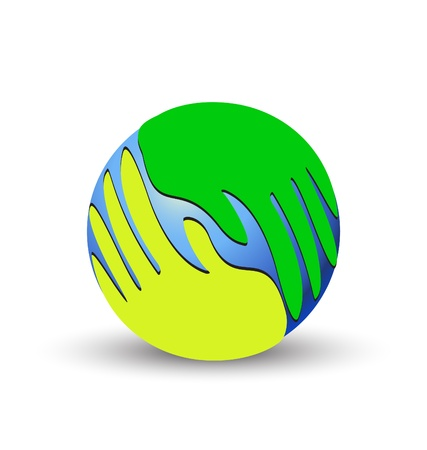 Green hands over the world logo vector
