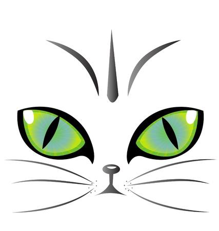 silueta de gato: Ojos de gato vector logo