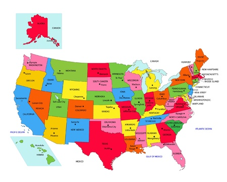 louisiana state: USA 50 States with State Names and Capital vector