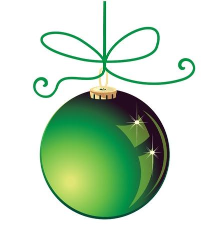 Verde Navidad bola decoración Foto de archivo - 16526450