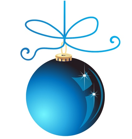 silver ribbon: Blue Christmas ball decoration