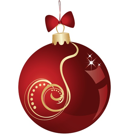 Christmas ball red and gold shiny swirl design Vector