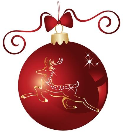 Boule de Noël et de la conception de renne d'or Banque d'images - 16587654