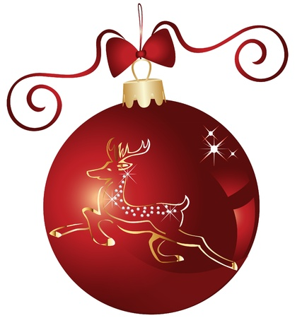 Christmas ball and gold reindeer design