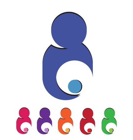child care: Mom and child taking care logo