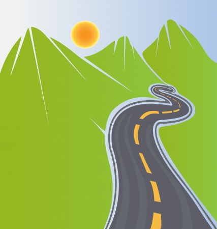 Road and green mountains vector stock Иллюстрация