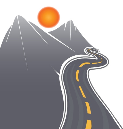 snow road: Road and mountains vector stock