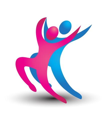 Dancer figures logo vector