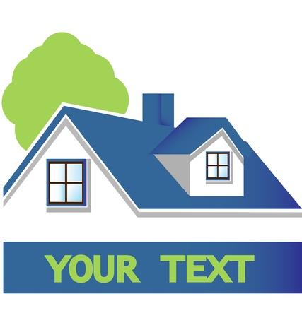 casa logo: Casa con albero logo vettoriale eps10