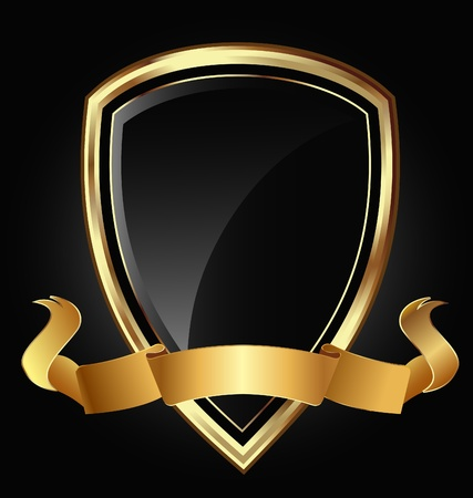 heroic: Shield and ribbon in bright gold Illustration