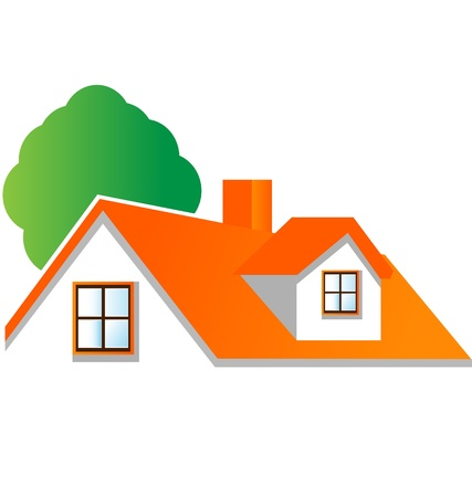 House with tree isolated logo vector Illustration