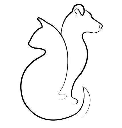 veterinarian: Kat en hond silhouet vector logo
