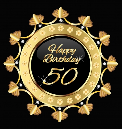Happy 30 birthday , gold design. Vector