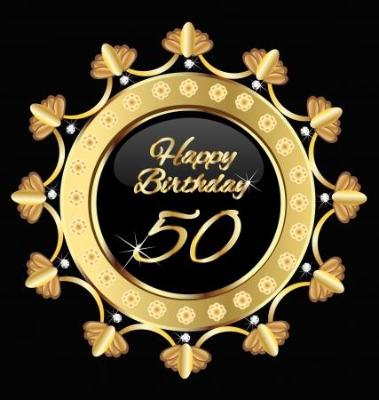 birthday flowers: Happy 30 birthday, goud design.
