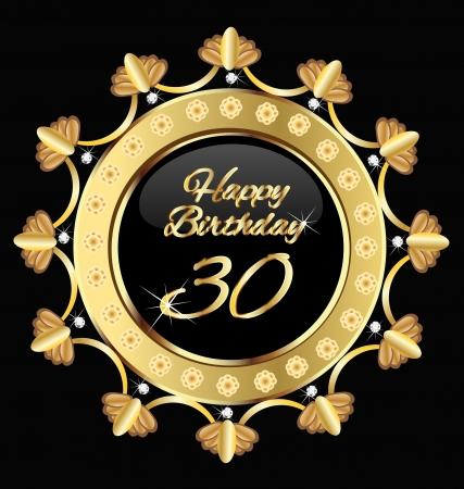 commemoration: Happy 30 birthday , gold design.